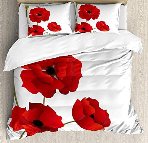 Floral 3 Stück Bettwäsche Set Bettbezug Set, Mohn Blumen lebendige Blütenblätter mit Knospen pastorale Reinheit Mutter Erde Natur Design, 3 Stück Tröster / Qulit Cover Set mit 2 Kissenbezügen, rot gr -
