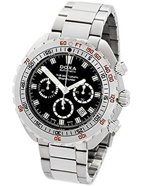 DOXA SUB 300t-graph Sharkhunter Herren Automatik Uhr mit schwarzem Zifferblatt Chronograph-Anzeige und Silber...