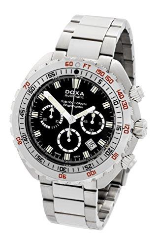 DOXA SUB 300t-graph Sharkhunter Herren Automatik Uhr mit schwarzem Zifferblatt Chronograph-Anzeige und Silber Edelstahl Armband 877.10.101.10
