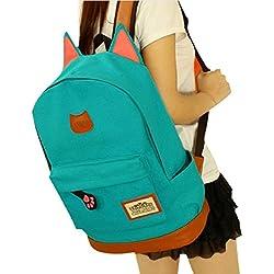 Tongshi hombres mujeres jóvenes Campus Girls viaje Mochila los bolsos de escuela Bolsas de deporte (Azul)