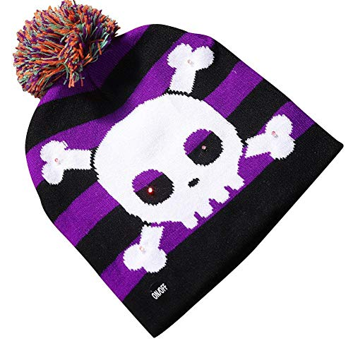Strickmütze Mit Halloween Shiny Knit Hat Kinder Adult Kürbis Ghost Knit Beanie Mit Light Halloween Dekoration Hat Led Caps Für Party Supplies ()