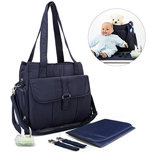 YONOVO Baby Windeltasche Windelrucksack mit Wickelauflage Isolierfach (Grau) dunkelblau