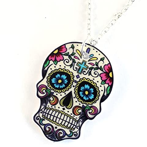 TFB - FUNKY LARGE WICKED CANDY WHITE CROSS MEXICAN SUGAR SKULL PENDANT NECKLACE GOTHIC RETRO GIFT DAY OF THE