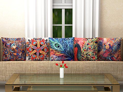 Hargunz 3D Digital Canvas Jute Cushion Cover Set of 5 16x16 inches...