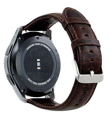 Armband für Gear S3 Frontier/Classic, 22mm Leder Armband Echtes Leder Uhrenarmbänder für Gear S3 Frontier/ Classic Smartwatch SM-R760 (Kaffee, L) (Doppelseitiges Leder)