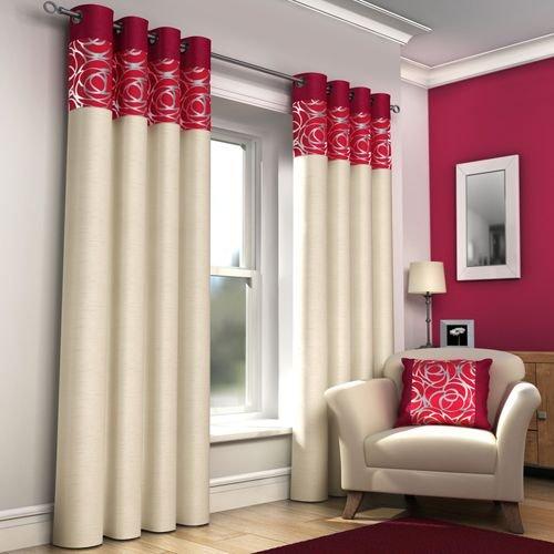 Rosso-tende a righe con occhielli, in finta seta, skye, 167,64 cm x (66 228,60 (90 cm