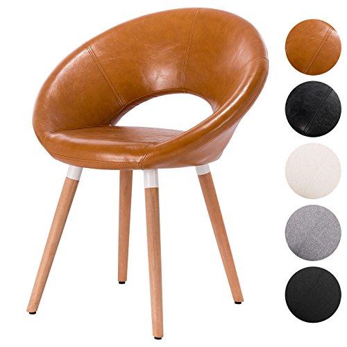 EUGAD Esszimmerstuhl Küchenstuhl Design Stuhl mit Arm- und Rücklehne Gestell aus Massivholz Loungesessel Polstersessel aus Kunstleder Braun BH71br-1