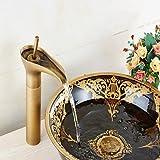 GAOLI palanca del grifo del fregadero de un seno estilo retro en las grandes accesorios de baño de cobre antiguos