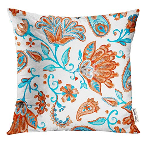 Throw Pillow Cover Red Blue Fantasy Whimsical Flowers Natural Floral Flores Curl Millefleurs Design Paisley Watercolor Decorative Pillow Case Home Decor Square 18x18 Inches Pillowcase Blue Floral Natural