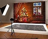 YongFoto 2,2x1,5m Foto Hintergrund Weihnachten Vinyl Weihnachtsmann am Fenster Weihnachtsbaumschmuck Geschenke Holzplanke Innere Fotografie Hintergrund Foto Leinwand Kinder Fotostudio 220x150cm