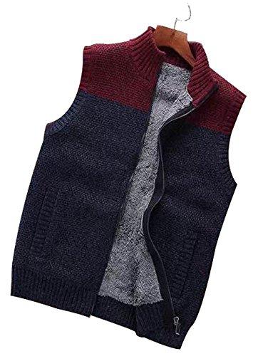 fanhang männer strickjacke pullunder mit zwei seiten - tasche und falschen pelz ein burgund