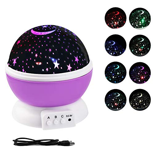 Zorara Sterne Nachtlicht Projektor, Sternenhimmel Projektor Lampe LED Kinder mit 4LED Birnen, 8 Licht Modus und 2 Energieversorgung (USB/Batterie Betrieben), Sky-Star Night Light