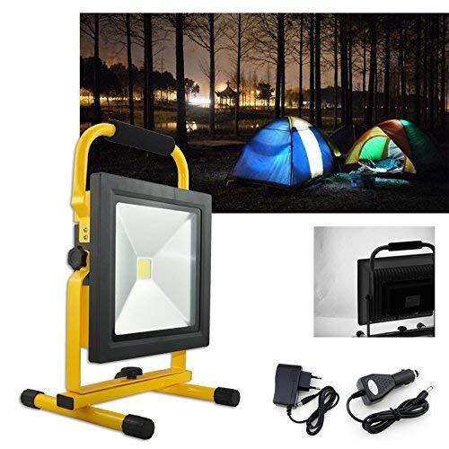 Hengda® 50W LED Akku Fluter Kaltweiß Strahler Außen IP65 handlampe Tragbare Wiederaufladbare Camping Lampe Außenleuchten -