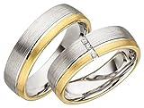 Verlobungsringe Eheringe Trauringe Partnerringe 2 Ringe Gold Plattiert JC011 *mit Gravur und Stein*