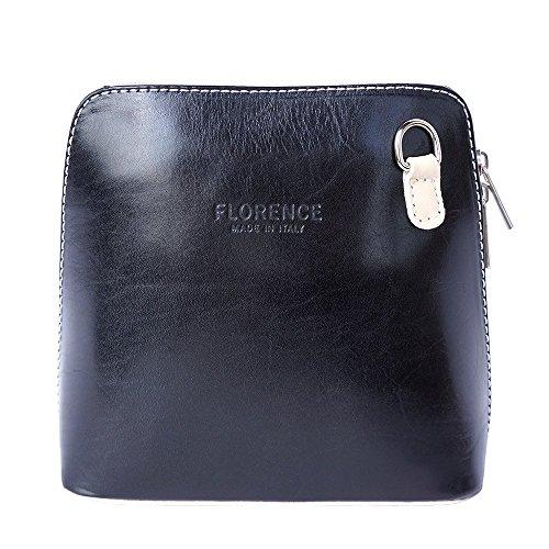 Florence Leather Market, Borsa a tracolla donna Small Nero/Beige