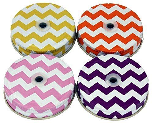 Chevron Stroh Loch Tumbler Deckel für Regular Mouth Ball Mason Gläser, 4Stück von Mason Jar Lifestyle