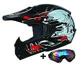 ATO-Helme Moto Kids Pro Niños Casco en negro Incluye MX motocicleta gafas