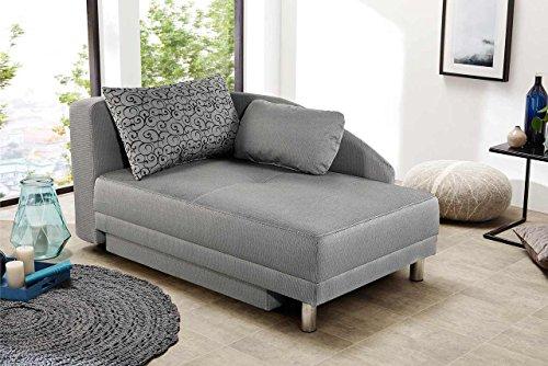 lifestyle4living Recamiere mit Schlaffunktion und Bettkasten, hellgrau, Stoff | Schlafsofa hat Liegefläche von 84 x 200 cm und 2 Kissen