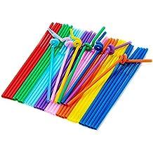 Shiney Trink Strohhalme Extra lang Einweg Bendable Flexible Plastic,Verschiedene Farbe Trink Strohhalme für Geburtstage,Hochzeiten,Weihnachten,Feiern und Feiern 100 pc