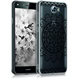 kwmobile Funda para Huawei Y6 II Compact (2016) - forro de TPU silicona cover protector para móvil - Case Diseño Flor azteca negro transparente