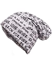 shenky - Cappello Lungo in Jersey - Fantasia a Scritte Loved You - Grigio ee456bf80ebf