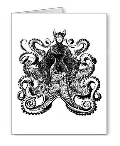 Quirky Viktorianischer Octopus Lady # 3Note Karten mit Umschlägen von 8
