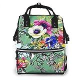 Baby Wickelrucksack Wickeltasche Mit Wickelunterlage Multifunktional Große Kapazität Babytasche Reisetasche für Unterwegs Blaue April Gartenblume