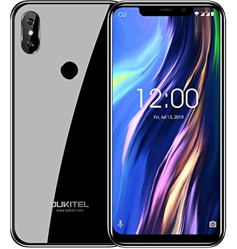 OUKITEL C13 Pro Android 9.0 4G LTE Smartphone ohne Vertrag (Dual SIM) - 6,18 Zoll Kerbenbildschirm Dual Glas Körper Handy, Quad-Core 1,5GHz 2GB+16GB dreifache Kamera, Gesicht ID&Fingerabdruck Negro (Handy-sperrung)