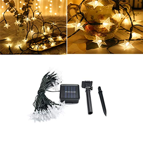 Zycz stella lampada led solar pentagramma lampada 30 giorno di natale decorativo box batteria lampada (luce calda/luce cinque colori),warmlight