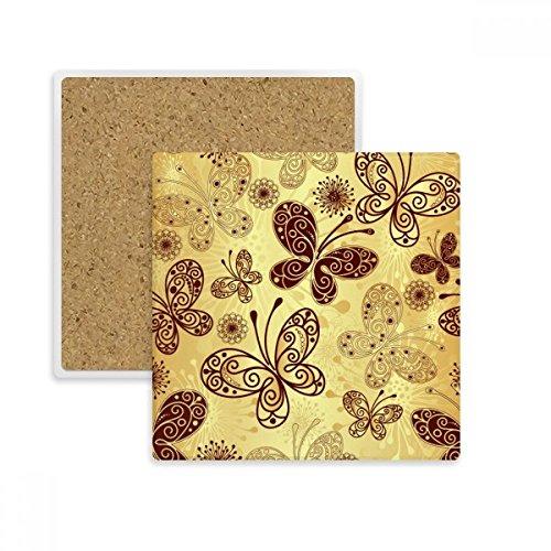 DIYthinker Fond d'écran Papillon carré Jaune Coaster Tasse Porte de Pierre pour Le Cadeau Absorbent de Boissons Multicolor