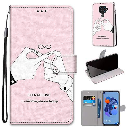 Miagon Flip PU Leder Schutzhülle für Huawei Mate 30 Lite,Bunt Muster Hülle Brieftasche Case Cover Ständer mit Kartenfächer Trageschlaufe,Finger Liebe