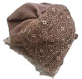 LadyMYP 125cmX190cm Einfarbiger Schal Stola aus Baumwolle und Hochwertiger Spitze, Mehrere Farben zur Wahl (Kaffee)