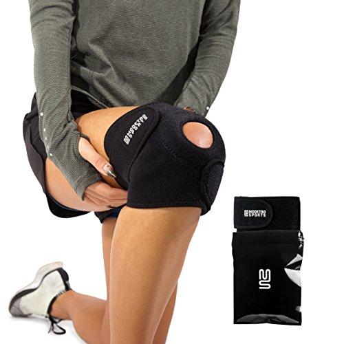 Genouillère pour arthrite, course, entrainement, sport, tensions ou blessures du genou – rotule ouverte confortable – Néoprène respirant haut de gamme – Réglable – Genouillères appropriées pour le ménisque.