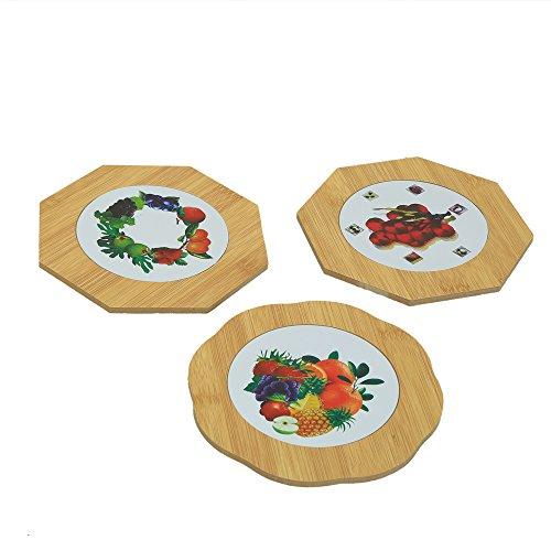 Kuber Industries™ Bamboo Heat Pad in Polygon Shape Fruit Design, 14.5*14.5 cm,...