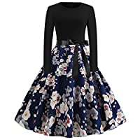 WDSWZ Women Dress Vintage Elegant Long Sleeve Print Swing 50s Housewife Casual Evening Party Prom Dresses
