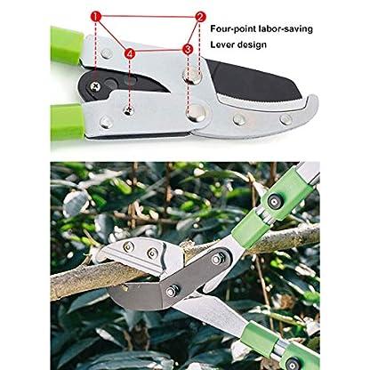 XPKZYSLJ-J Tijera de poda 2 Manos Corte Bypass, para Jardín Ramas Setos Arbustos vástago de aleación de Aluminio retráctil y Antideslizante Mango de plástico, 70 cm(retráctil)