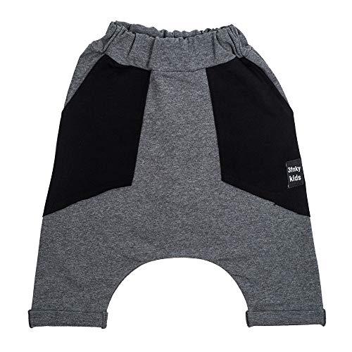3fnky kids Jogger Shorts Hose für Jungen und Mädchen 2-8 Jahre - Black Pockets (2-4 Jahre, Medium Grey)