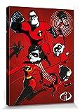 1art1 115475 Die Unglaublichen - 2, Bob Parr, Helen, Violet, Flash, Mr. Incredible, Elastigirl Poster Leinwandbild auf Keilrahmen 80 x 60 cm