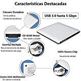 VersionTECH. Grabadora Lector CD/DVD USB 3,0 Ultra Slim Portátil Unidad Externa Burner Lector Óptico CD/DVD/-RW/-RW SuperDrive para MacBook/MacBook Air/MacBook Pro/iMac/Windows/Mac OSX(Plata)