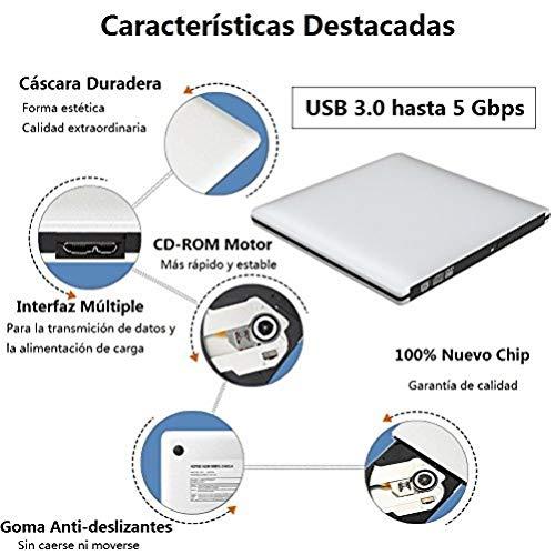 VersionTECH. Grabadora Lector CD/DVD USB 3,0 Ultra Slim Portátil Unidad Externa Burner Lector Óptico CD/DVD/-RW/-RW SuperDrive para MacBook/MacBook Air/MacBook Pro/iMac/Windows/Mac OSX(Plata)