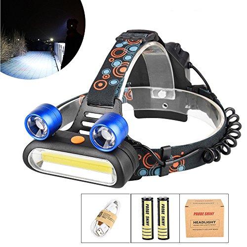 LED Stirnlampe, Ulanda-EU 2x T6 1x COB Super helle USB Wiederaufladbar LED-Lampen, 15000 Lumen wasserdichter Scheinwerfer mit 4 Lichtmodi, inklusive USB Kabel, 2 x 18650 Akku