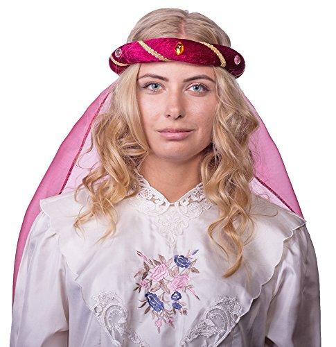 Mittelalter Haarband Rosalin für Damen zum Prinzessin oder Burgfräulein Kostüm - Weinrot