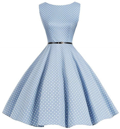 Bbonlinedress 50s Retro Schwingen Vintage Rockabilly kleid Faltenrock Blue Small White Dot (Kleid Plus Schickes Size)