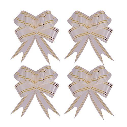 kraftz® 23mm Schmetterling Pull Bögen mit Gold Line/bunt und wunderschöne Pull String Schleife für Hochzeit Geburtstag Weihnachten Party Dekoration 10Stück silber