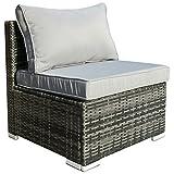 Hansson Polyrattan Gartenmöbel Lounge Set Sitzgruppe Garnitur Poly Rattan inkl. Sofa Sessel Kissen Hocker Tisch mit Glas (1 x Mittelsofa)