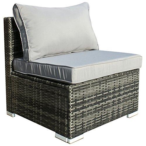 Hansson Polyrattan Gartenmöbel Lounge Set Sitzgruppe Garnitur Poly Rattan inkl. Sofa Sessel Kissen Hocker Tisch mit Glas (1 x Mittelsofa) -
