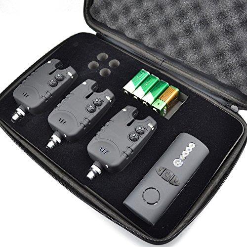 13-Carp-Fishing-Wireless-Bite-Alarm-Set-LED-with-Adjustable-Volume-Tone-Control-in-Zipped-Case