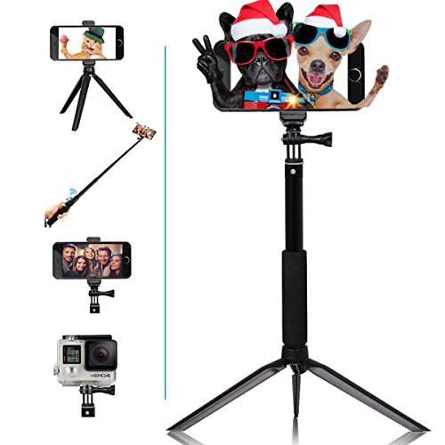 SENIORE selfie stick Extendable monopod tripod with Bluetooth wireless remote for Android phones &iPhone 8/iPhone 8 Plus/X/iPhone 7/iPhone 7 Plus/Galaxy Note 8/S8 /S8 digital cameras GoPro