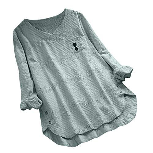 YueLove Damen Vintage Blusen Cute Cat Print Button V-Ausschnitt Langarm Plus Size Long Shirts Tops Pullover Basic Classic Sweatshirt Kapuzenpullover Sweatjacke -