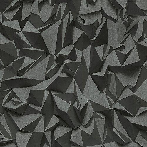 ps-times-tapete-3d-effekt-dreieck-muster-geometrische-texturierte-vlies-tapete-kohlegrau-silber-4209